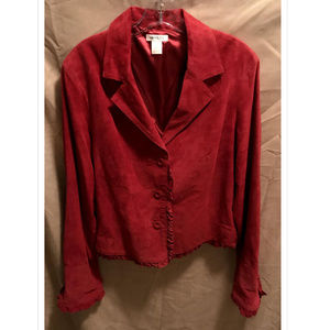 Size XL Harolds Red Suede Leather Jacket